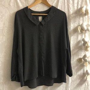 Zara Basic polka dot top sz XL black /white